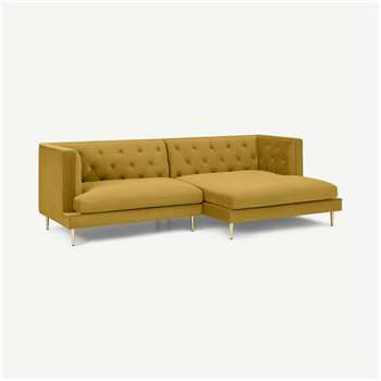 Goswell Right Hand Facing Chaise End Corner Sofa, Vintage Gold velvet (H75 x W235 x D126cm)