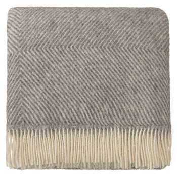 Gotland Wool Blanket, Grey & Cream (H220 x W240cm)