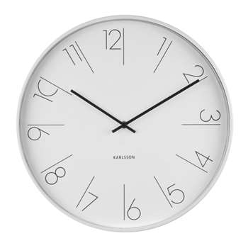 Grace clock white and silver (H40 x W40 x D5.8cm)