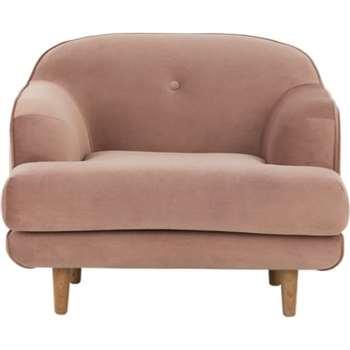 Gracie Armchair, Vintage Pink Velvet (80 x 103cm)