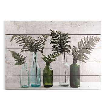 Graham & Brown Botanical Bottles Print On Wood Wall Art (H50 x W70 x D3.8cm)