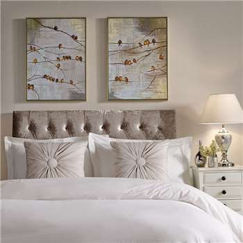 Graham & Brown Gold Flock Of Birds Hand Painted Framed Canvas (70 x 50cm)