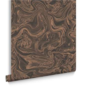 Graham & Brown Marbled Charcoal and Rose Gold Wallpaper (H1000 x W52cm)