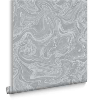 Graham & Brown Marbled Grey and Silver Wallpaper (H1000 x W52cm)