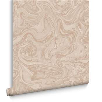 Graham & Brown Marbled Pebble and Rose Gold Wallpaper (H1000 x W52cm)