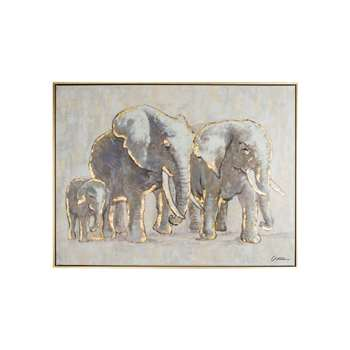 Graham & Brown Metallic (Grey) Elephant Family Hand Painted Framed Canvas (60 x 80cm)