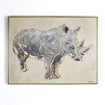 Graham & Brown Metallic (Grey) Rhino Hand Painted Framed Canvas (H60 x W80cm)