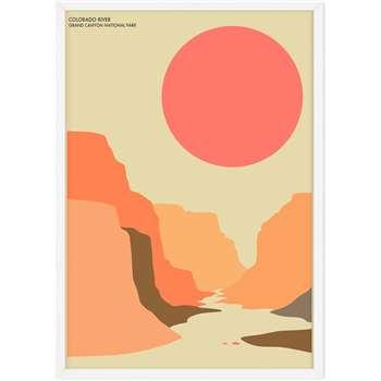 Grand Canyon Landscape Travel Poster Framed Wall Art Print (H44 x W22 x D2cm)