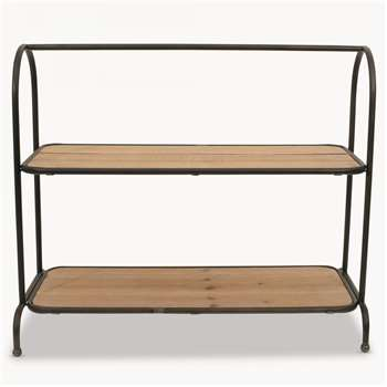 Granville Iron and Wood Standing Shelf (H46.5 x W54.8 x D21cm)