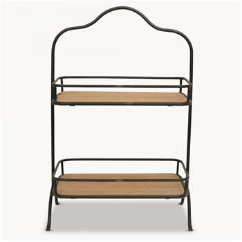 Granville Iron and Wood Standing Shelf (H53.5 x W34.7 x D18.5cm)