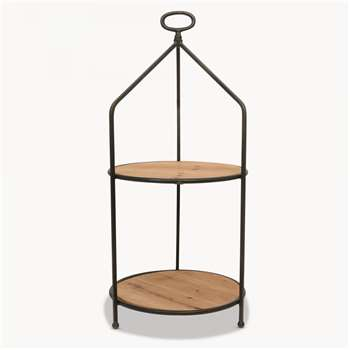 Granville Iron and Wood Tiered Table (H65.5 x W30.7 x D30.7cm)