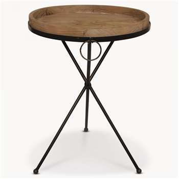 Granville Metal and Wood Side Table (63 x 45.5cm)
