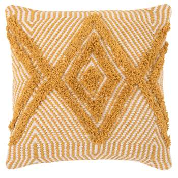 Graphic Print Beige and Yellow Cotton Cushion Cover (H40 x W40cm)