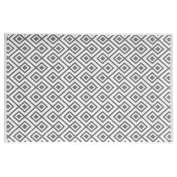 GRAPHIC WILD white cotton bath mat with grey motifs (50 x 80cm)
