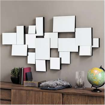 GRAPHIC wooden bevelled mirror, black H 140cm