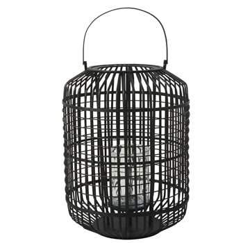 GRAPHIK Black Bamboo and Glass Lantern (H62 x W48 x D48cm)