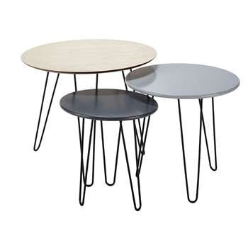 GRAPHIK Nest of 3 coffee tables (Width 40-60cm)