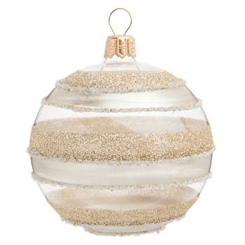GRAPHIQUE - Glass Christmas Bauble with Gold and Silver Stripes, Set of 6 (H7 x W7 x D7cm)