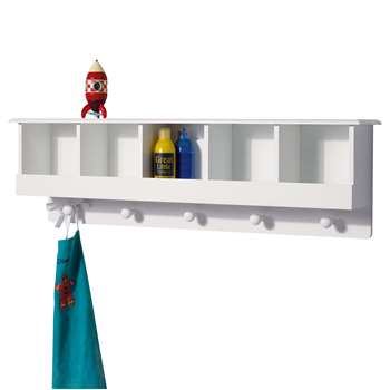 Great Little Trading Co 5 Cube Cubbyhole Wall Shelf and Hooks, White (H30 x W100 x D18cm)