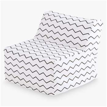 Great Little Trading Co Single Sleepover Chair, White/Zig Zag (H55 x W60 x D58cm)