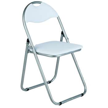 Argos Home Padded Faux Leather Folding Office Chair - White (H80 x W45 x D48cm)