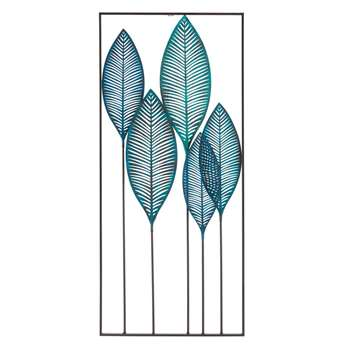 GREEN ADDICT Blue Metal Foliage Wall Art (H135.5 x W60 x D3cm)