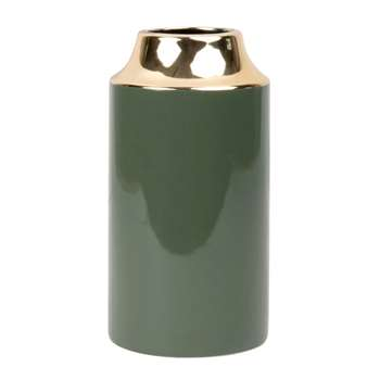 Green and Gold Ceramic Vase (H20 x W10 x D10.3cm)
