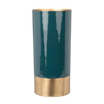 Green and Gold Metal Vase (H23 x W10.5 x D10.5cm)