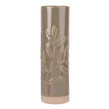 Green and White Ceramic Vase with Engraved Flowers (H30 x W9 x D9cm)