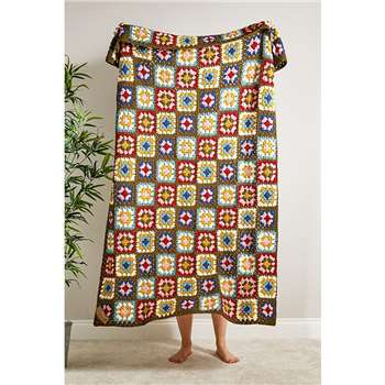 Green Floral Handmade Crochet Blanket (H120 x W170cm)
