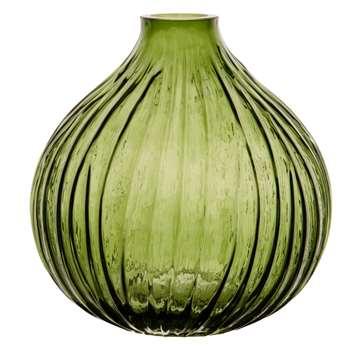 Green Tinted Ribbed Glass Ball Vase (H20 x W19 x D19cm)