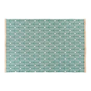 GREENY Green Cotton Rug with Graphic Motifs (160 x 230cm)