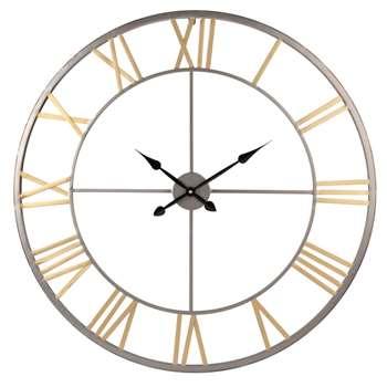 Grey and Gold Cut-Out Metal Clock (H80.5 x W80.5 x D4.5cm)