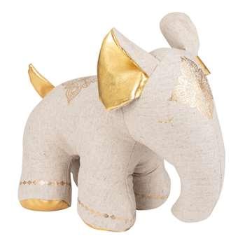 Grey and Gold Elephant Door Stop (H27 x W16 x D16cm)