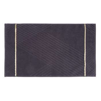 Grey Cotton Bath Mat with Gold-Tone Embroidery (50 x 80cm)