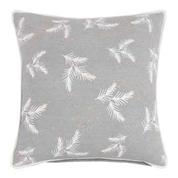 Grey Cotton Cushion Cover with Leaf Print (H40 x W40cm)