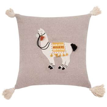 Grey Cotton Cushion Cover with Llama Print (H40 x W40cm)
