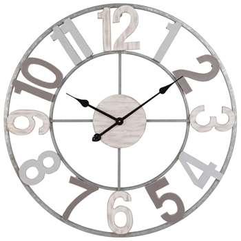 Grey Metal and Fir Clock (Diameter 70cm)