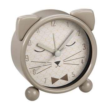 Grey Metal Cat Alarm Clock (8 x 8cm)
