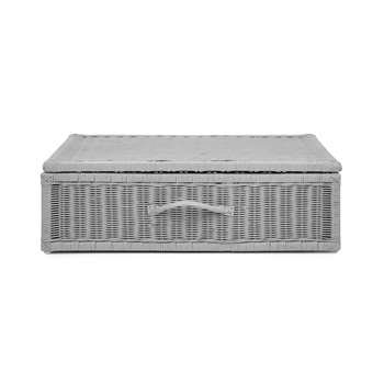 Grey Rattan Underbed Storage Box (23 x 73cm)