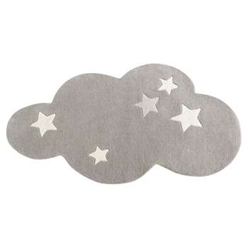 Grey short pile wool cloud rug (75 x 100cm)