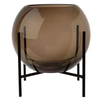 Grey Tinted Glass Bowl Vase on Black Metal Base H21 (H20.5 x W17.5 x D17.5cm)