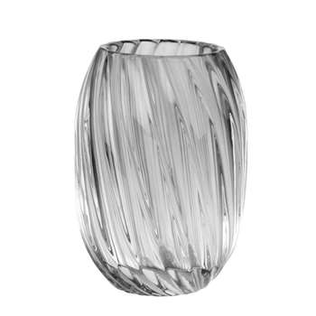Grey Tinted Ribbed Glass Vase (H13 x W9 x D9cm)