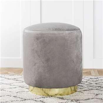 Grey Velvet Stool (H45 x W40 x D40cm)