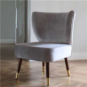 Grey Velvet Wing Chair (H95 x W65 x D65cm)
