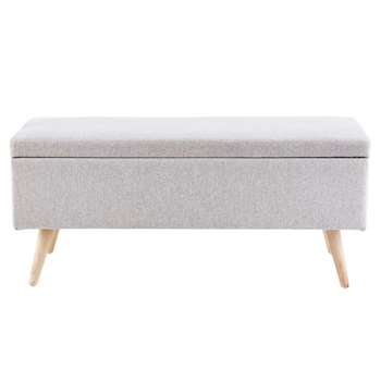 OLIVER Grey Vintage Storage Bench (45 x 100cm)