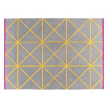 Grid Large grey and yellow geometric wool rug (170 x 240cm)