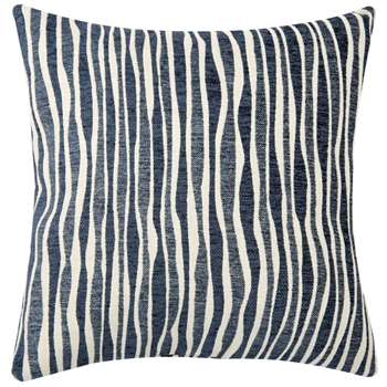 GRIFFE Navy Blue Cushion Cover with Beige Stripes (H40 x W40cm)