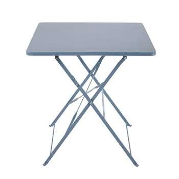 GUINGETTE 2-Seater Blue-Grey Metal Folding Garden Table (H72 x W70 x D70cm)