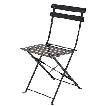 Guinguette 2 folding chairs in satiny black metal (80 x 42cm)
